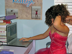 Kaitlyn at Computer on Prom night